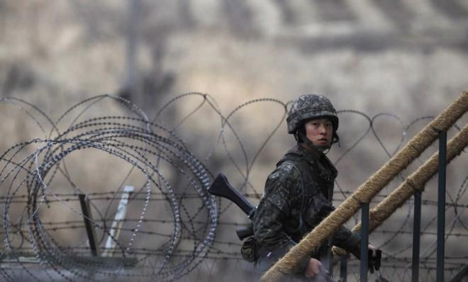 A South Korean soldier walks up the stairs at an observation post on March 12, near the demilitarized zone, which separates the Koreas.