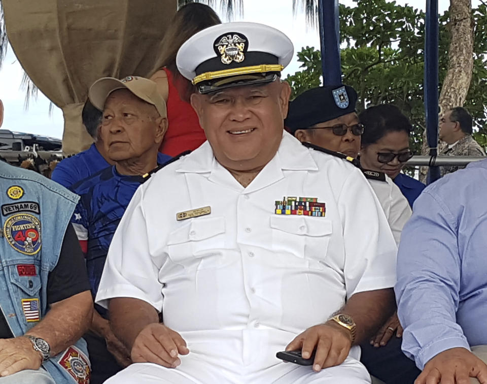 """In this 2019 photo, provided by Amy Sue Borja Santos, is her father, Vicente Borja at a Veteran of the Year ceremony in Ypao Beach, Guam. Vicente Borja is one of six former Hawaii residents who are living in Guam and the U.S. Virgin Islands suing to be able to vote by absentee ballot for president. Their federal lawsuit filed late Thursday, Oct, 8, 2020, says they are being treated like """"second-class"""" citizens because of where they live. (Amy Sue Borja Santos via AP)"""