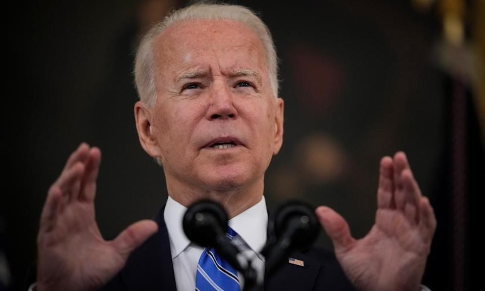 Joe Biden speaks about the nation's economic recovery from the Covid-19 pandemic at the White House