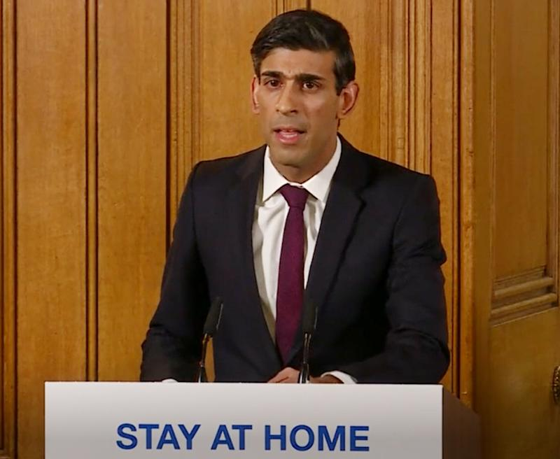 A screen-grab of Chancellor Rishi Sunak speaking at a media briefing in Downing Street, London, on coronavirus (COVID-19).