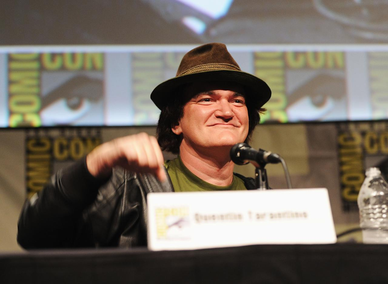 """SAN DIEGO, CA - JULY 14:  Director Quentin Tarantino speaks at the """"Django Unchained"""" panel during Comic-Con International 2012 at San Diego Convention Center on July 14, 2012 in San Diego, California.  (Photo by Albert L. Ortega/Getty Images)"""