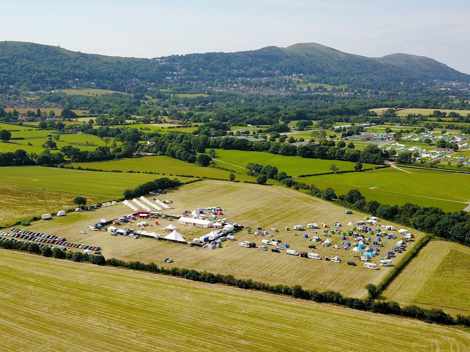 An aerial view of the 2019 Swingfields Festival in Malvern, Worcestershire (Picture: SWNS)
