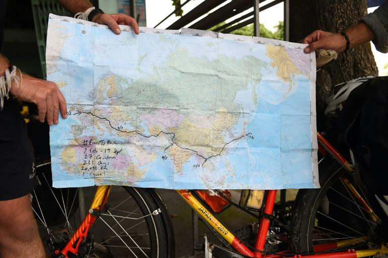 With little more than a weathered map in their baggage, Ron Rutland and James Owens have been on the road for 191 days and counting