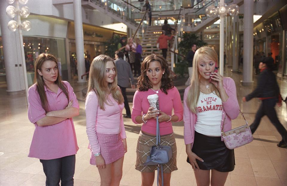 "Lindsay Lohan (from left) as Cady, Amanda Seyfried as Karen, Lacey Chabert as Gretchen and Rachel McAdams as Regina in ""Mean Girls."""