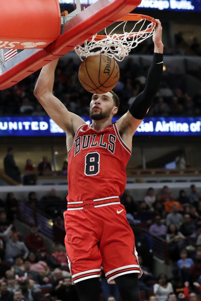 Chicago Bulls guard Zach LaVine dunks against the Sacramento Kings during the second half of an NBA basketball game in Chicago, Friday, Jan. 24, 2020. The Kings won 98-81.(AP Photo/Nam Y. Huh)