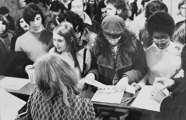 Registration desk at the first official Star Trek convention. (Photo by Charles Frattini/NY Daily News Archive via Getty Images)