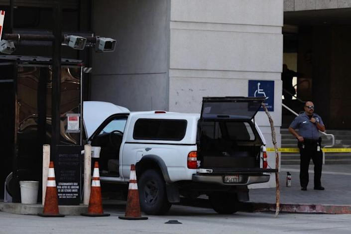 A heavily armed man drove this truck to Edward R. Roybal Federal Building in downtown L.A.
