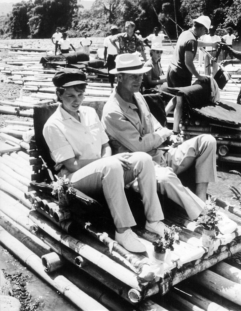 <p>On a raft trap with Prince Philip during a royal tour of Jamaica.</p>