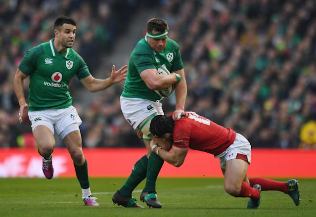 Rugby Union - Six Nations Championship - Ireland vs Wales - Aviva Stadium, Dublin, Republic of Ireland - February 24, 2018 Ireland's CJ Stander and Conor Murray in action with Wales' Leigh Halfpenny REUTERS/Clodagh Kilcoyne