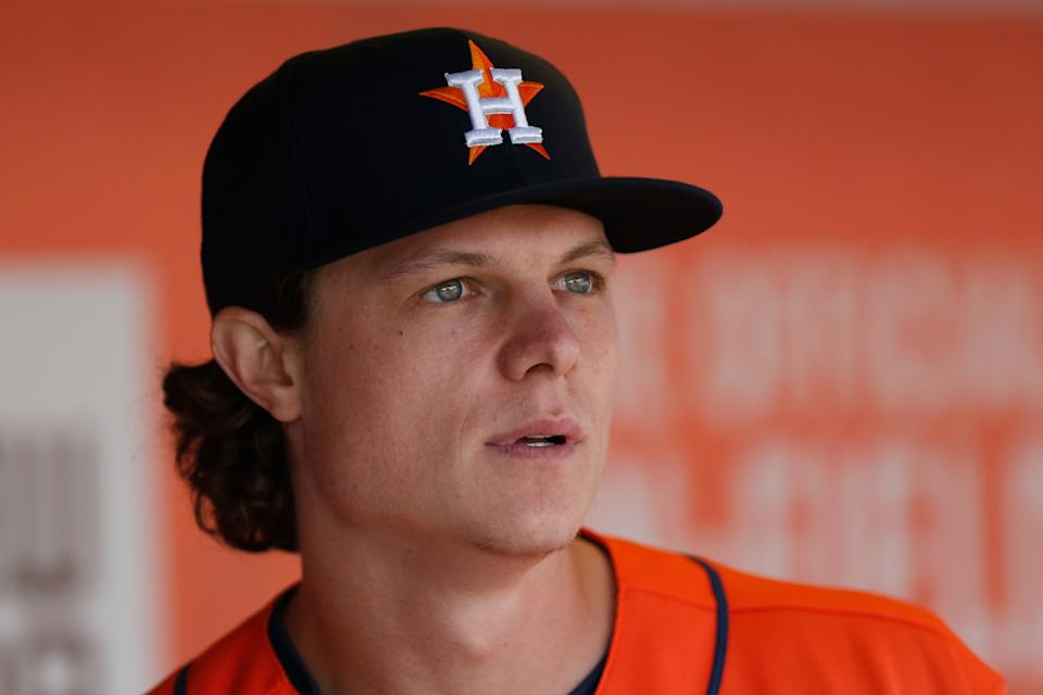 SAN FRANCISCO, CALIFORNIA - JULY 31: Jake Meyers #6 of the Houston Astros looks on from the dugout during the game against the San Francisco Giants at Oracle Park on July 31, 2021 in San Francisco, California. (Photo by Lachlan Cunningham/Getty Images)