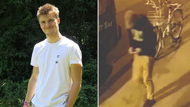 Theo Hayez pictured in a white t-shirt (left) and the night he disappeared (right).