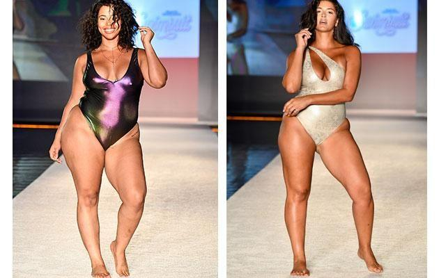 Two plus size models on the Sports Illustrated runway last month. Photo: Getty