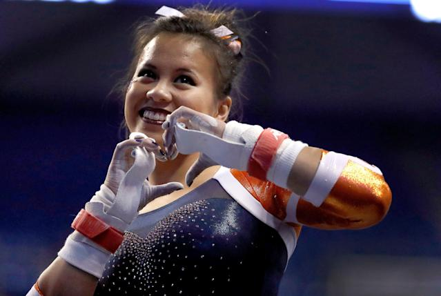 Samantha Cerio injured both legs when a move went wrong. (AP Photo/Jeff Roberson)