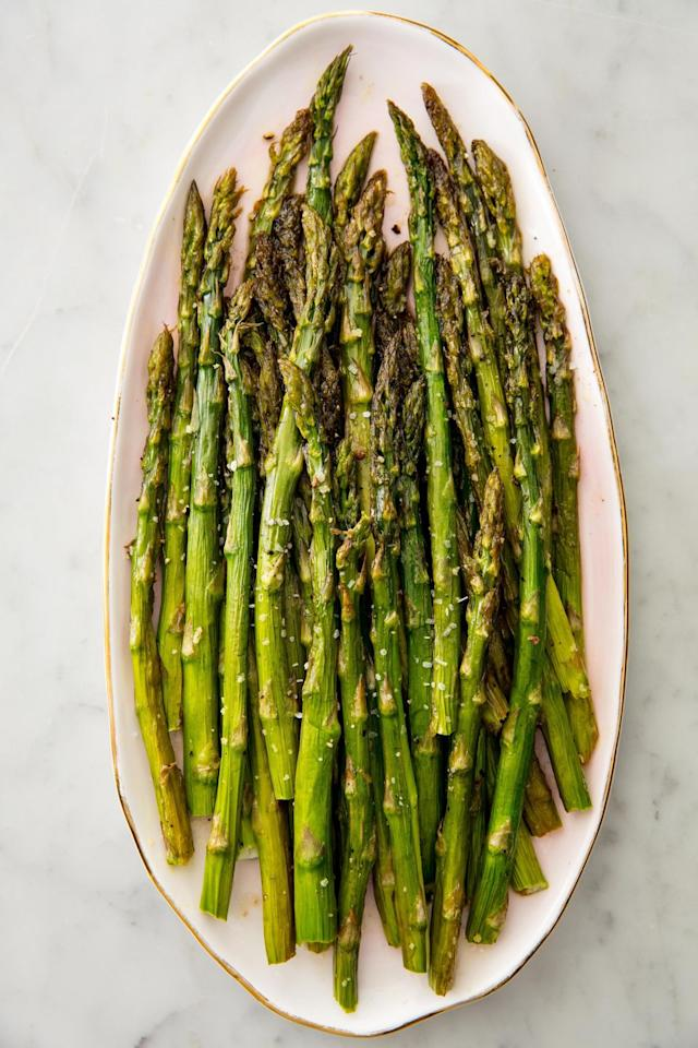 """<p>The Mediterranean diet is all about the veggies-load up with this simple roasted dish. </p><p>Get the recipe from <a href=""""https://www.delish.com/cooking/recipe-ideas/recipes/a58375/oven-roasted-asparagus-recipe/"""" target=""""_blank"""">Delish</a>.</p>"""