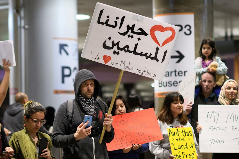 Demonstrators at Los Angeles International Airport protest against President Trump's executive order to ban entry into the US to travelers from seven Muslim countries. Los Angeles, California. January 31, 2017.