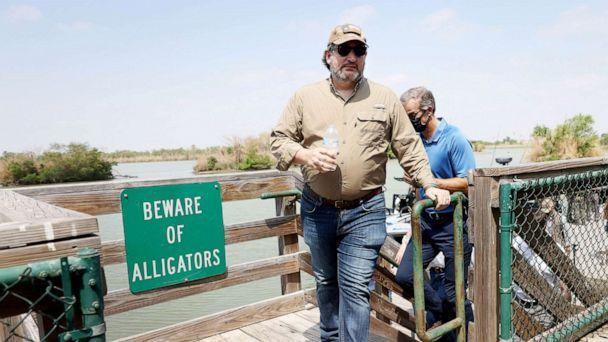 PHOTO: Sen. Ted Cruz arrives to speak to the media after a tour of part of the Rio Grande river on a Texas Department of Public Safety boat in Mission, Texas, March 26, 2021. (Joe Raedle/Getty Images)
