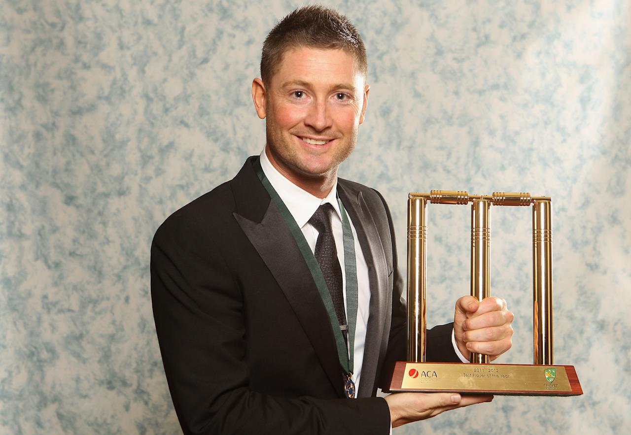 MELBOURNE, AUSTRALIA - FEBRUARY 27:  Michael Clarke of Australia poses after winning the Test player of the Year during the 2012 Allan Border Medal Awards at Crown Palladium on February 27, 2012 in Melbourne, Australia.  (Photo by Lucas Dawson/Getty Images)