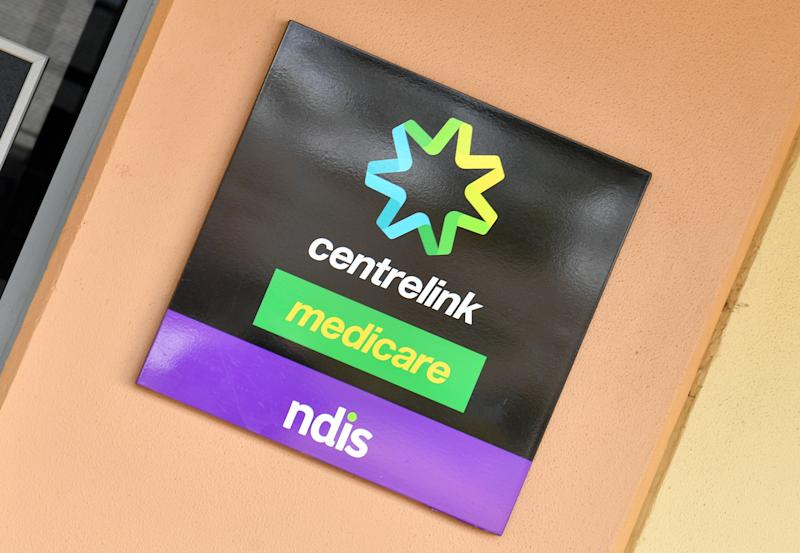 Image: AAPThe Centrelink sign is seen in the west NSW town of Broken Hill, Sunday, July 8, 2018. (AAP Image/Mick Tsikas)