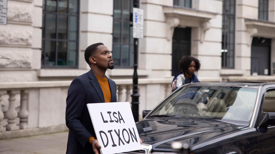 Aml Ameen channels an infamous scene from 'Love Actually' in 'Boxing Day'. (Rekha Garton/Warner Bros)