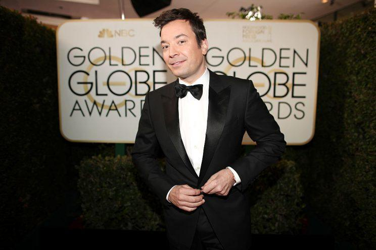 Golden Globes host Jimmy Fallon takes stabs at soon-to-be-president Trump during Golden Globes ceremony. <i>(Photo: Getty Images),</i>