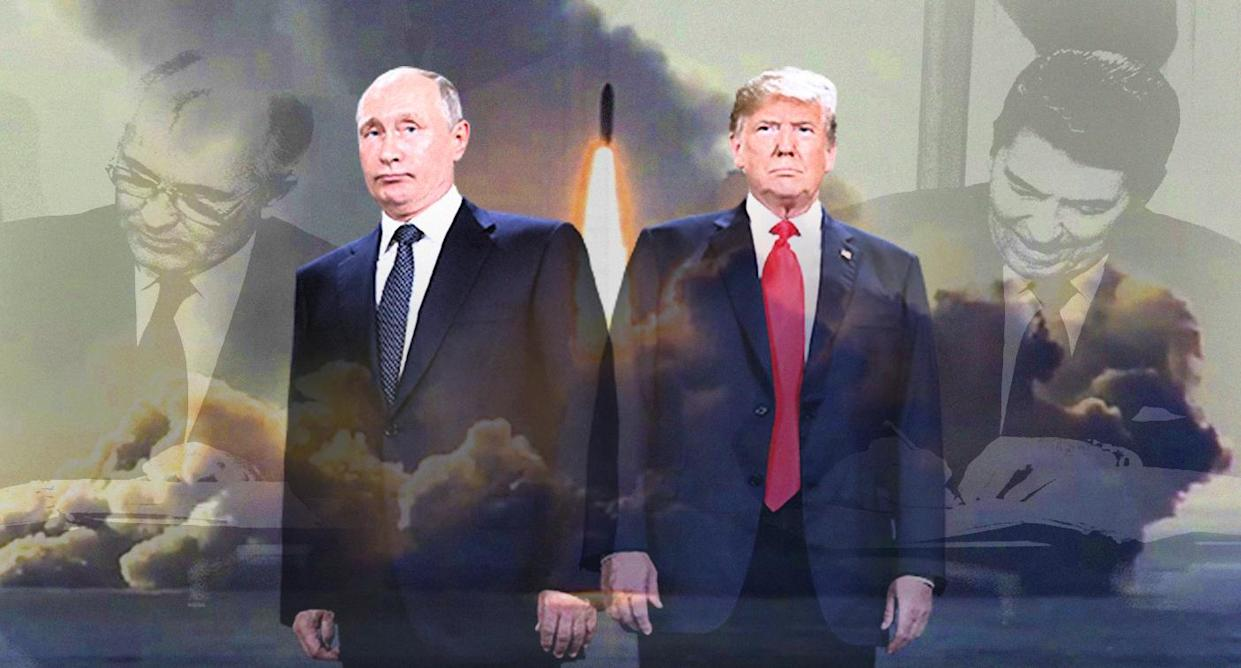 Vladimir Putin and President Trump are moving toward a new arms race 30 years after Mikhail Gorbachev and Ronald Reagan worked to end the first. At center, a Russian nuclear submarine test-fires a Bulava missile in May. (Photo illustration: Yahoo News; photos: AP (2), Universal History Archive/UIG via Getty Images, Russian Defense Ministry Press Service)