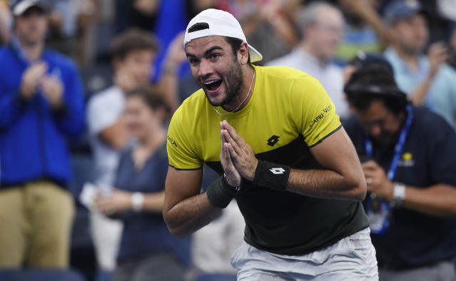 Matteo Berrettini, of Italy, bows to the crowd after defeating Andrey Rublev, of Russia, during the fourth round of the US Open tennis championships Monday, Sept. 2, 2019, in New York. (AP Photo/Sarah Stier)