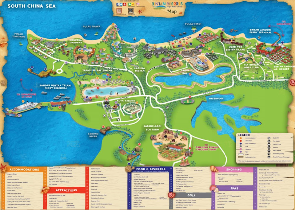 <em>Resort map for Bintan – a resort bubble would see a section of the island ring fenced off for tourists</em>