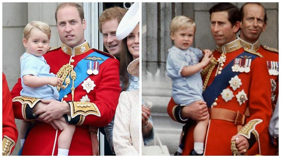 Prince George wore the same colour outfit to watch the Trooping of the colour in 2015 as his father had done in 1984. Photo: Getty Images