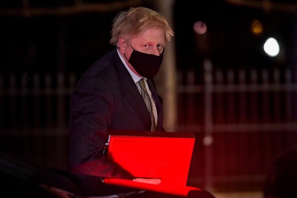 <p>Britain's Prime Minister Boris Johnson looks on as he arrives at the Embassy of the United Kingdom </p>AFP via Getty Images