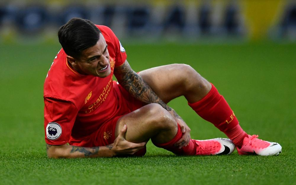 Philippe Coutinho went off after ten minutes - Credit: Getty