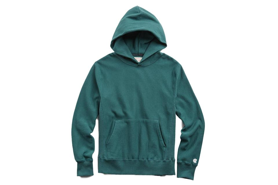"$138, Todd Snyder. <a href=""https://www.toddsnyder.com/collections/sale/products/popover-hoodie-sweatshirt-storm-green"" rel=""nofollow noopener"" target=""_blank"" data-ylk=""slk:Get it now!"" class=""link rapid-noclick-resp"">Get it now!</a>"