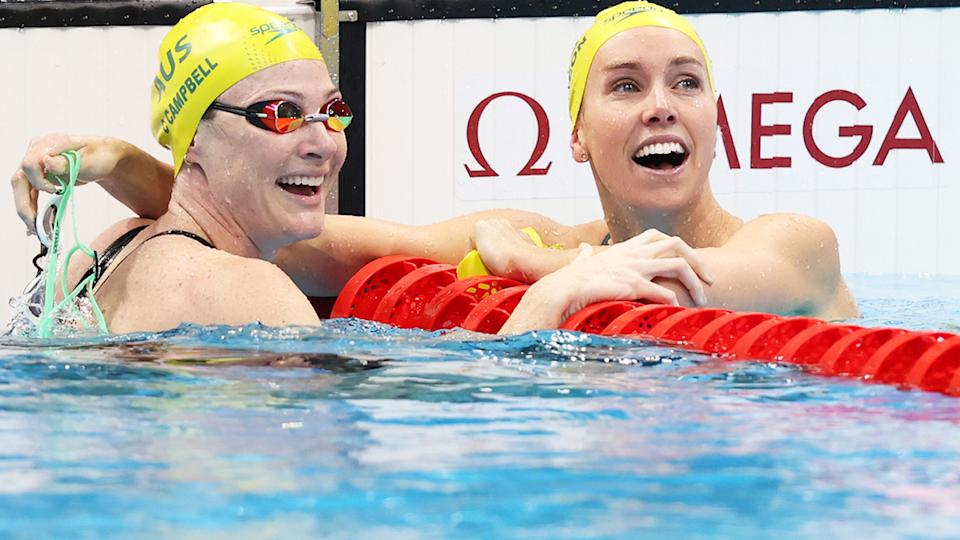 Cate Campbell and Emma McKeon, pictured here in action at the Tokyo Olympics.