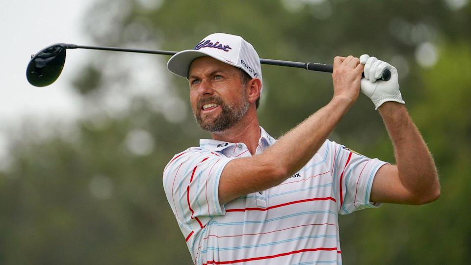 Mandatory Credit: Photo by John Minchillo/AP/Shutterstock (10779967ao)Webb Simpson, of the United States, plays his shot from the ninth tee during the first round of the US Open Golf Championship, in Mamaroneck, N.