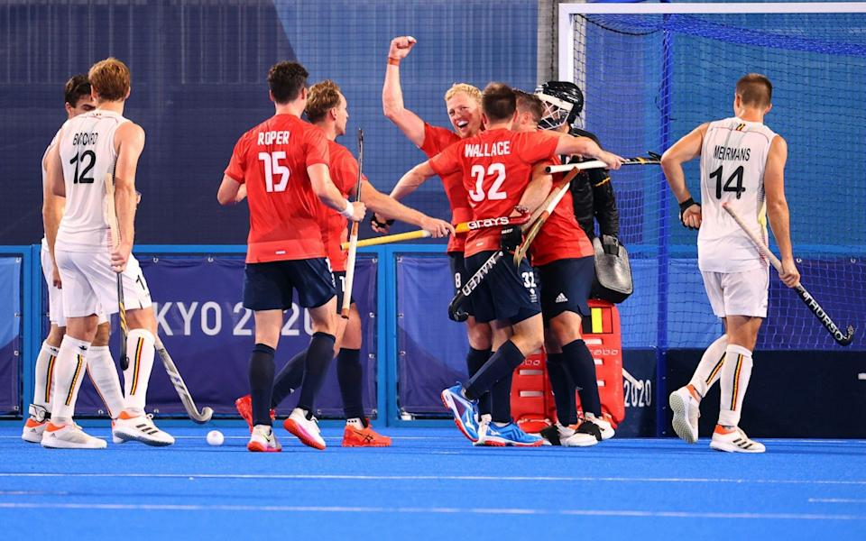 Rupert Shipperley celebrates with his team-mates after making it 1-0 - REUTERS