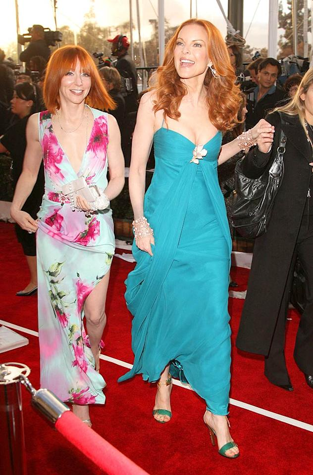 "Marcia Cross always knows how to pick colors to complement her gorgeous red hair. Here, the ""Desperate Housewife"" glows in a teal Monique Lhuillier gown. Chris Polk/<a href=""http://www.wireimage.com"" target=""new"">WireImage.com</a> - January 27, 2008"