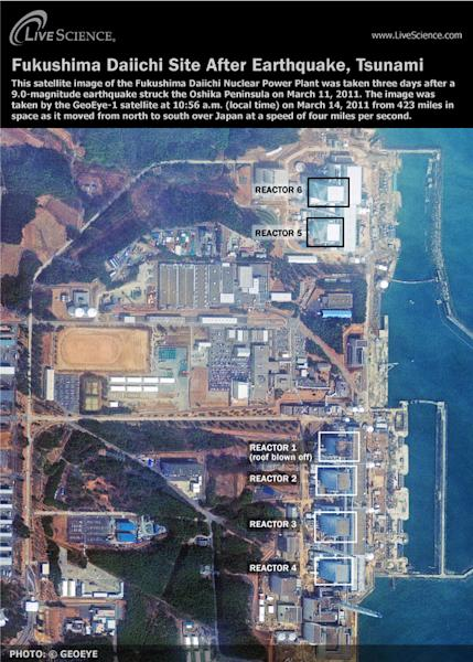 This GeoEye satellite image shows the nuclear reactors (labeled) at the Fukushima Daiichi plant after the earthquake and tsunami hit northeastern Japan.