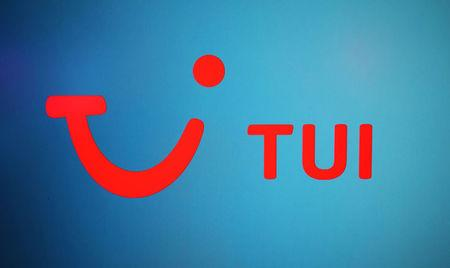 FILE PHOTO: The TUI logo is displayed on a computer screen in London