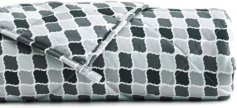 YnM Cooling Weighted Blanket with 100% Bamboo Viscose in Small Lattice Scroll