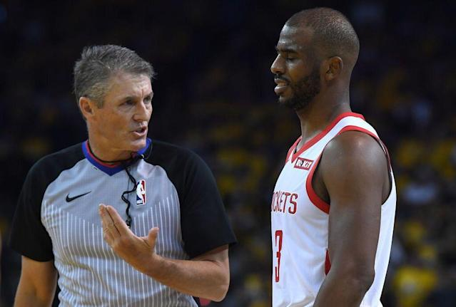 Veteran NBA referee Scott Foster was assigned to Game 2 despite a contentious history with Chris Paul and the Rockets. (Getty Images)