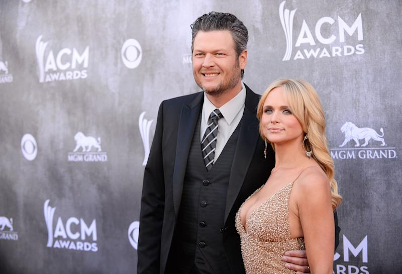 Blake Shelton, left, and Miranda Lambert arrive at the 49th annual Academy of Country Music Awards at the MGM Grand Garden Arena on Sunday, April 6, 2014, in Las Vegas. (Photo by Al Powers/Powers Imagery/Invision/AP)