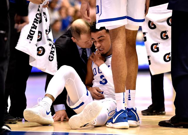 """Duke guard <a class=""""link rapid-noclick-resp"""" href=""""/ncaaf/players/284606/"""" data-ylk=""""slk:Tre Jones"""">Tre Jones</a> (sitting) will return soon, while fellow freshman <a class=""""link rapid-noclick-resp"""" href=""""/ncaab/players/147097/"""" data-ylk=""""slk:Cam Reddish"""">Cam Reddish</a> will be ready to suit up Saturday against No. 4 Virginia. (Photo by Grant Halverson/Getty Images)"""
