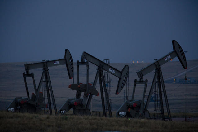 Pumpjacks operate at an oil well site near Gillette, Wyoming. Natural resources are the lifeblood of the state's economy. (Josh Galemore/Casper Star-Tribune)