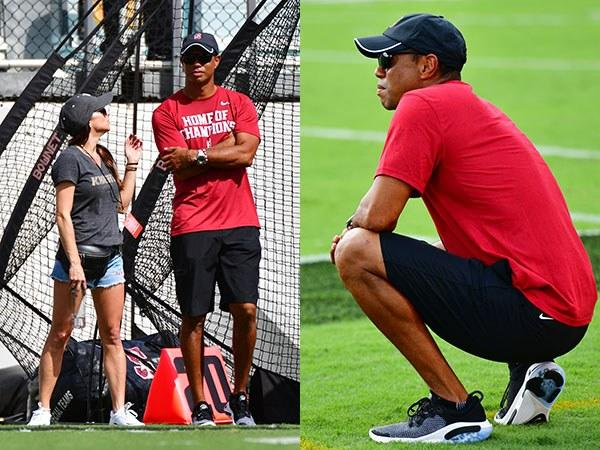 ORLANDO, FLORIDA - SEPTEMBER 14: Tiger Woods looks on from the sidelines during a football game between the UCF Knights and the Stanford Cardinals at Spectrum Stadium on September 14, 2019 in Orlando, Florida. (Photo by Julio Aguilar/Getty Images)