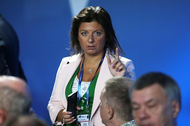 Margarita Simonyan, editor in chief of Rossiya Segodnya and RT at a meeting of the Valdai Discussion Club in Sochi, Russia, on Oct. 19. (Photo: Mikhail Metzel\TASS via Getty Images)