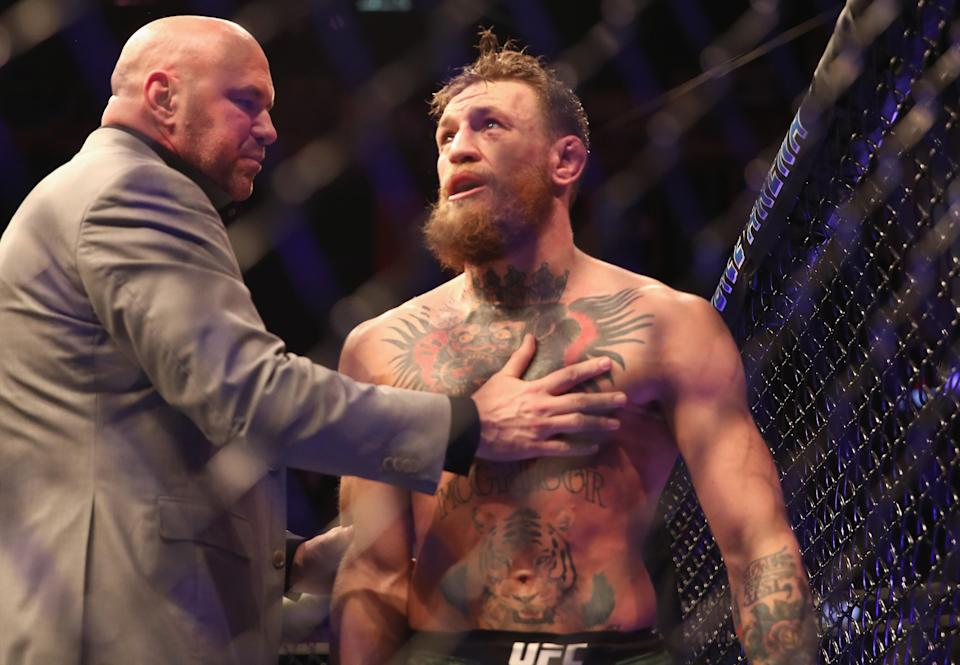 Conor McGregor reacts after tapping out vs. Khabib Nurmagomedov at UFC 229 inside T-Mobile Arena on Saturday in Las Vegas. (Christian Petersen/Zuffa LLC)