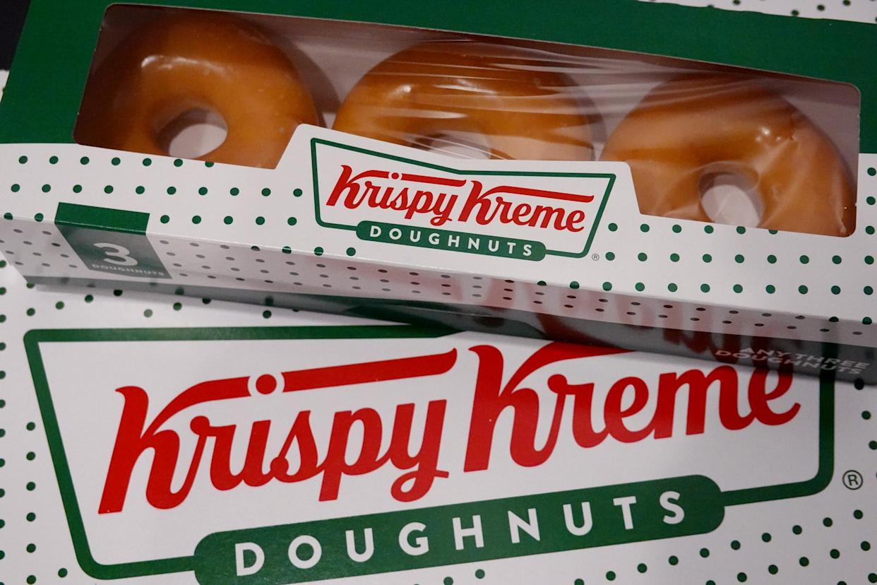 Doughnuts are sold at a Krispy Kreme store on May 05, 2021 in Chicago, Illinois. The doughnut chain reported yesterday that it plans to take the company public again. (Scott Olson/Getty Images)