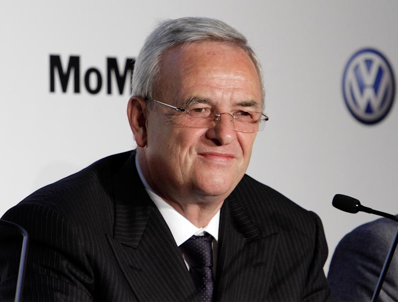 FILE - In this May 23, 2011 file photo, Martin Winterkorn, CEO of German automaker Volkswagen AG, participates in a news conference at New York's Museum of Modern Art. Winterkorn told reporters on Tuesday, Oct. 23, 2012, that VW is considering the introduction of a new midsize SUV for the North American market, and that its plant in Chattanooga, Tenn., would be in the running to make the new model. (AP Photo/Richard Drew, File)