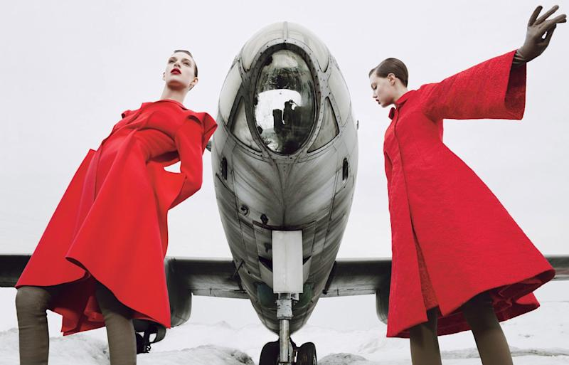 """Channel Mrs. Claus. """"Coats to Win the Cold War"""" photographed by Emma Summerton, styled by Giovanna Battaglia; W Magazine November 2013."""