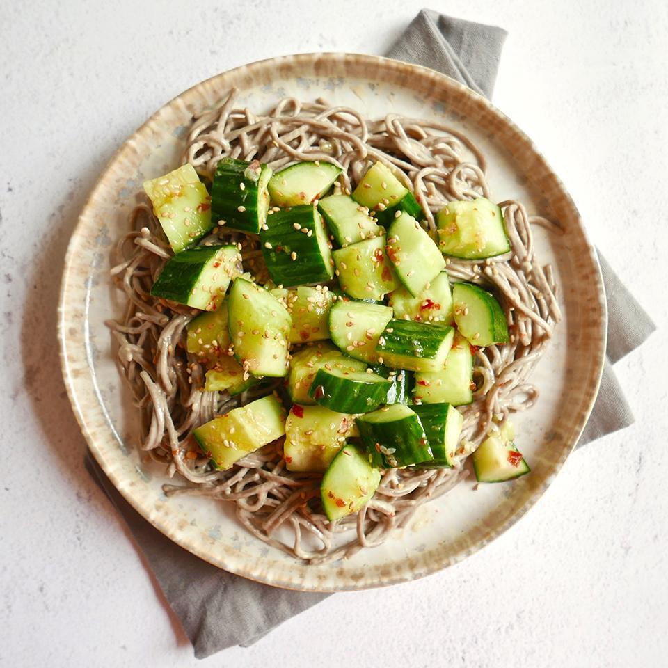 "<p>These noodles will serve you well when the weather is sweltering and you just want something cool to eat. Robust buckwheat noodles are coated in a nutty sauce made with tahini and sesame oil and topped with crunchy cucumbers with a hint of heat from sambal oelek. You'll find sambal oelek with the Asian foods in most supermarkets; if you can't find it, you can substitute chile-garlic paste or Sriracha. This makes a good-size batch with enough leftovers for a few easy, no-reheat lunches. <a href=""http://www.eatingwell.com/recipe/275228/sesame-noodle-salad-with-smashed-cucumbers/"" rel=""nofollow noopener"" target=""_blank"" data-ylk=""slk:View recipe"" class=""link rapid-noclick-resp""> View recipe </a></p>"