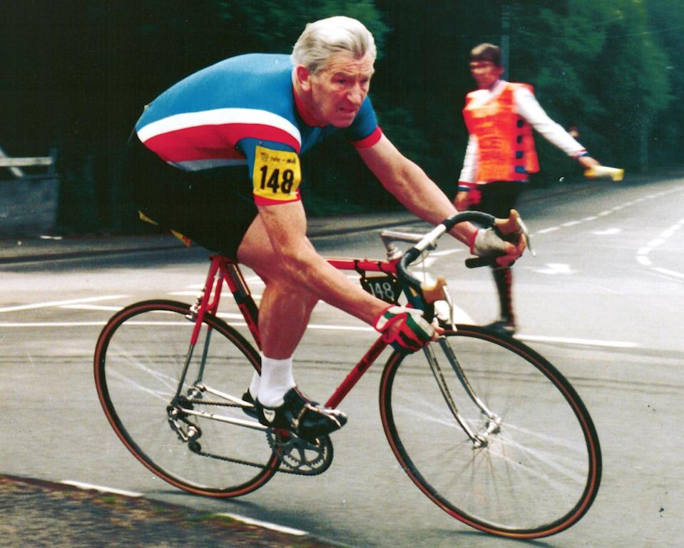 Ron Longstaff riding a ike - date unknown. See SWNS copy SWLECYCLE: Britain's oldest cyclist still clocks up a staggering 150 miles per week after pushing the pedals for more than 70 years and has no plans to stop - at the grand age of 93. Sprightly grandad Ron Longstaff has cycled more than a million miles since being bought his first lightweight racing bike by his father in 1946. The pedal-powered pensioner, who has a collection of 11 bikes, still gets out on the road three times a week and has no intention of hitting the brakes just yet.